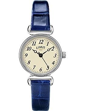 Limit Classic Creme Zifferblatt chrom Fall Blau Lederband Damen-Armbanduhr 6146