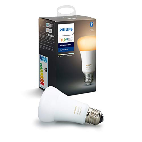 Philips Hue White Ambiance Single Smart Bulb LED [E27 Edison Screw] with Bluetooth, Works with Alexa and Google Assistant
