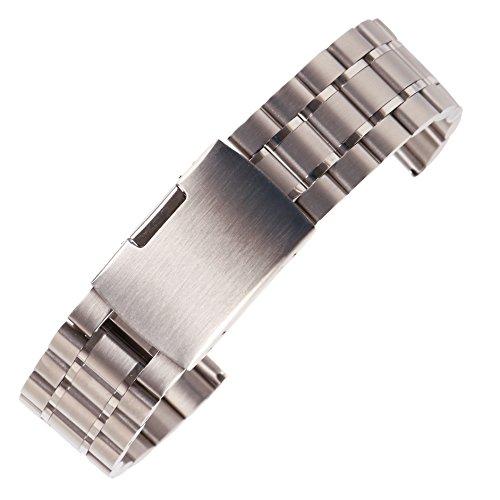 24mm Metallersatz Gürtel der Männer für klassische und intelligente Uhren aus massivem Silber Edelstahl-Uhrenarmband