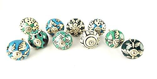 unstvoller sortiert, blau grün Keramik Schubladen Knäufe Tür Schrank zieht indischen Mix Regler. Express Priority Versand ()
