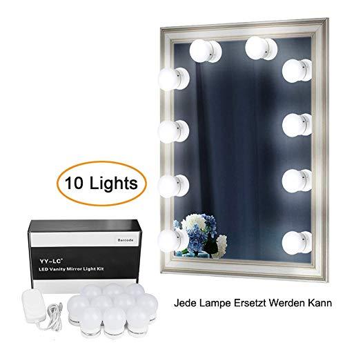 YY-LC Hollywood Spiegel Beleuchtung mit Dimmer Schalter 12V-Netzteil,Verstecken Kann und Die Drähte Ersetzen,Schminktisch Leuchte Spiegellicht Set für Frisiertisch,10 Leuchten, ohne Spiegel