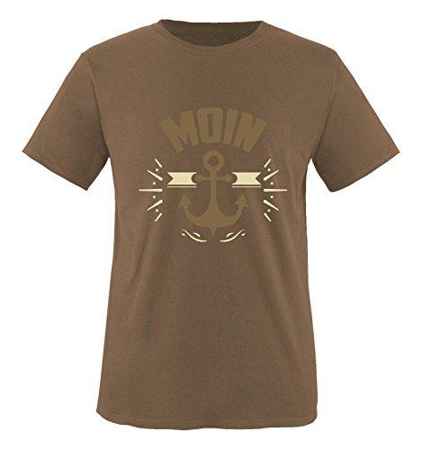 Comedy Shirts - Moin - Anker - Herren T-Shirt - Braun/Hellbraun-Beige Gr. XL