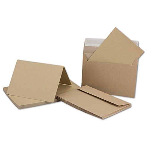 Kraftpapier-Karten inklusive Briefumschläge | 50er-Set | Blanko Recycling Einladungskarten in Braun | bedruckbare Post-Karten in DIN A6 | ideal zum Selbstgestalten & Kreieren