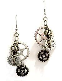 f83fe02791 Orecchini gothic steampunk colore bronzo e argento ingranaggi chiave gear  earrings