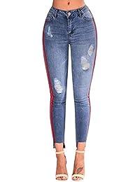 822f3fbc10 Huixin Pantalones Vaqueros Delgados De Cintura Alta La Cintura Estiramiento  Stretch De Lápiz Pantalones Casuales Modernos