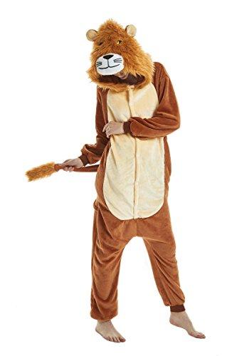 heekpek Jumpsuit Tier Cartoon Fasching Karneval Halloween kostüm Erwachsene Unisex Cosplay Sleepsuit Pyjama Overall Kostüm (Brauner Löwe, L:Geeignete Höhe 167-175cm)