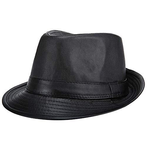 b30296a77 OLIS,Retro Cappello In Pelle Uomo Jazz Fedora Panama Gangster Berretto  Invernale,Black-