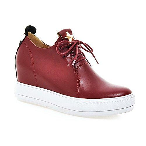 AllhqFashion Damen Weiches Material Schnüren Hoher Absatz Eingelegt Pumps Schuhe Rot