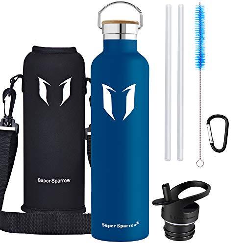 Super Sparrow Trinkflasche - 1000ml - Wasserflasche Doppelwandig Vakuum Isoliert Edelstahl - Auslaufsicher Sport Trinkflaschen | Ideale Flasche - BPA-freie - 2 Deckel + Tragetasche (Blaubeere)