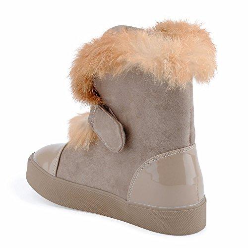 Damen Schlupf Herbst Winter Stiefel Schnalle Stiefeletten Lack Velours-Optik Klettverschluss Kunstfell Warm Gefüttert Boots Schuhe Khaki