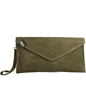 Große Handtasche Geschäft - Damen Umschlaghandtasche aus echtem italienischem Leder mit Staubbeutel