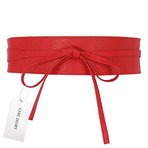 CHIC DIARY Damen Fashion Gürtel Breiter Taillengürtel Hüftgürtel Bindegürtel Ledergürtel in vielen Farben, Rot, Einheitsgröße