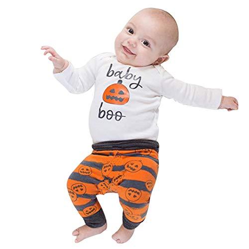 Riou Kinder Langarm Halloween Kostüm Top Set Baby Kleidung Set Neugeborenen Baby Mädchen Junge Kürbis Strampler Top + Hosen + Hut Halloween Outfits Set (80, Weiß)