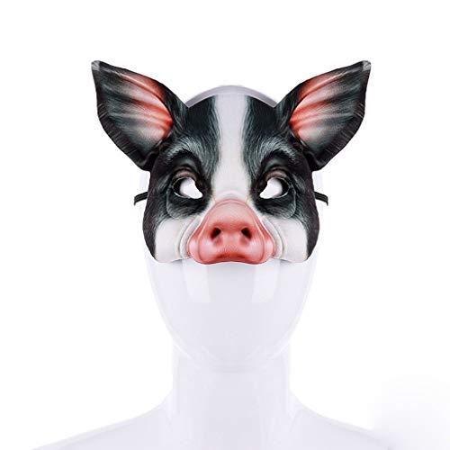 Hupoop Kostüm halbes Gesicht Tier Schwein Maske Unisex Bösewicht Kostüm Party Ball Halloween Karneval (Schwarz) (Sexy Bösewicht Kostüm)
