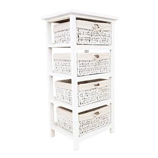 Premier Housewares – Cajonera de Mimbre para baño (4 cajones Forrados, 82 x 40 x 32 cm), Color Blanco