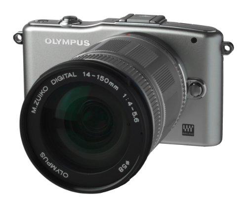 Olympus Pen E-PM1 Systemkamera (12 Megapixel, 7,6 cm (3 Zoll) Display, bildstabilisiert) silber mit 14-150mm Objektiv silber Olympus Mini Digital
