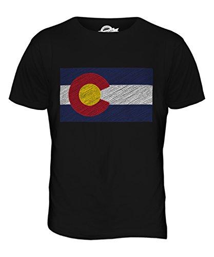 CandyMix Colorado State Bandiera Scarabocchio T-Shirt da Uomo Maglietta Nero