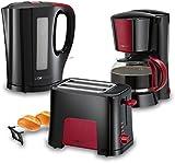 Clatronic Line Red - Set desayuno, Cafetera 8 a 10 tazas, Tostadora, Hervidor de Agua 1,7 l, negro y burdeos
