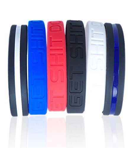 Motivational-Silicone-Bracelets-Set-by-Solza-4x-Get-Shit-Done-Silicone-Wristbands-Thin-Blue-Line-Bracelet-Thin-White-Line-Bracelet-Unisex-Colored-Wristbands-8Hypoallergenic-BPA-free
