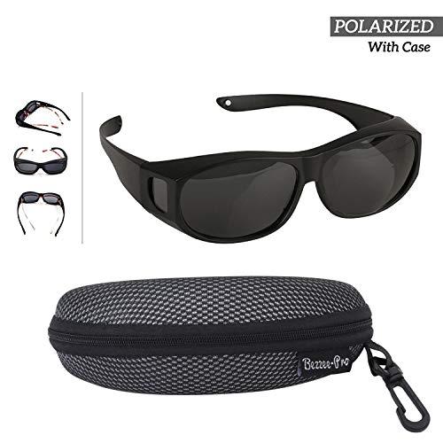 BEZZEE PRO Sonnenbrille Überziehbrille für Brillenträger Polarisiert, Männer & Frauen Radfahren gegen Blendung - leicht - komfortabel - Sonnenüberbrille über normale Brillen (schwarz)