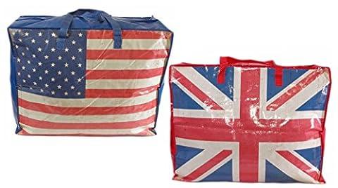 2er Set extragroße Aufbewahrungstasche Riesentasche Wäschetasche Umzugstasche Jumbo Bag 90 Liter, Flaggen USA und (Usa Zu Weihnachten)