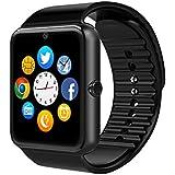 Smart Watch, CulturesIn GT08 Touch Screen Bluetooth Armbanduhr mit Kamera / SIM Kartensteckplatz / Schrittzähleranalyse / Schlafüberwachung für Android (Vollfunktionen) und IOS (Teilfunktionen) (gun black)