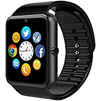 Smart Watch, CulturesIn GT08 Touch Screen Bluetooth dell'orologio con la macchina fotografica / SIM Card Slot / analisi contapassi / sleep Monitoraggio per Android (funzioni complete) e IOS (funzioni parziali) (gun black)
