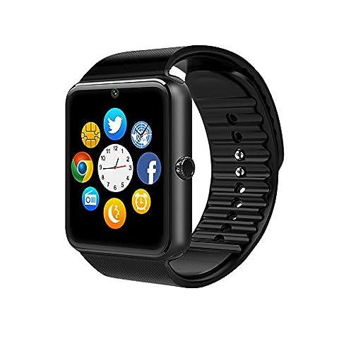 Smart Watch, CulturesIn GT08 Écran tactile Bluetooth Montre-bracelet avec caméra / Carte SIM Analyse de la fente / podomètre / Surveillance du sommeil pour Android (Fonctions complètes) et IOS (Fonctions partielles) (gun black)