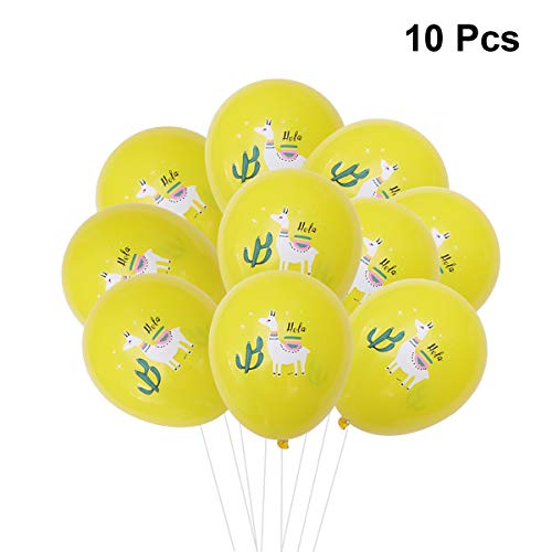 Amosfun 10 stücke 12 Zoll Luftballons Alpaka Kaktus Gedruckt Dekorative Latex Luftballons für Hawaii Sommer Thema Party Geburtstag Baby Shower Decor (gelb)