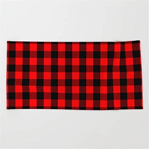 Strandtücher Handtücher Classic Red and Black Buffalo Check Plaid Tartan Beach Towel 31x51 Inches -