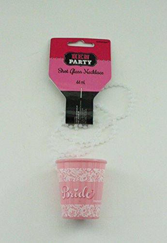 2 Rosa Binder (2 Stück SCHNAPSGLAS - BRIDE - mit Kette)