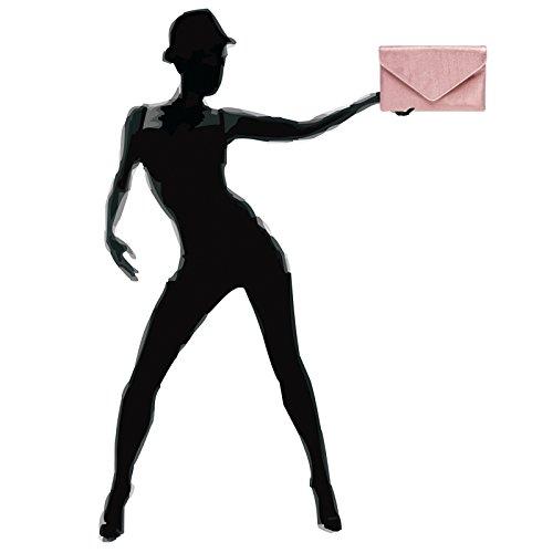CASPAR TA357 große elegante Damen Glitzer Envelope Clutch Tasche / Abendtasche Rosa