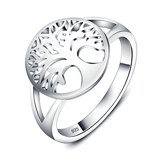925 Sterling Silver Ring, Women's Wedding Bands Tree of Life Size N 1/2 Epinki