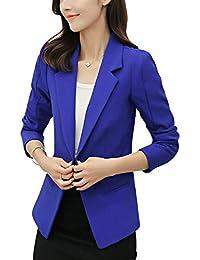 Mujer Americana Negocios Oficina Chaqueta Primavera Chic Ropa Otoño Colores  Sólidos Chaqueta De Traje Manga Larga con Bolsillos… cf3ca1e6513f