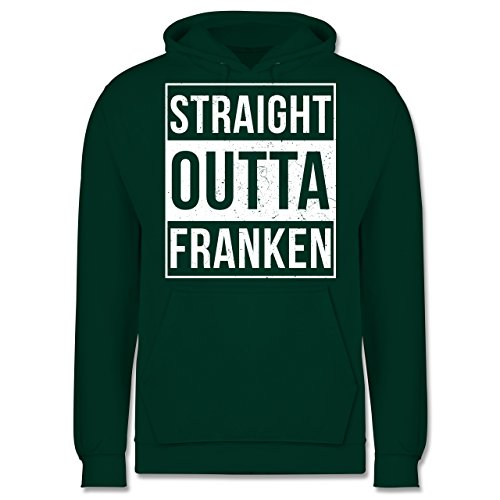 Franken Männer - Straight Outta Franken Weiss - JH001 Herren Kapuzen Pullover Dunkelgrün