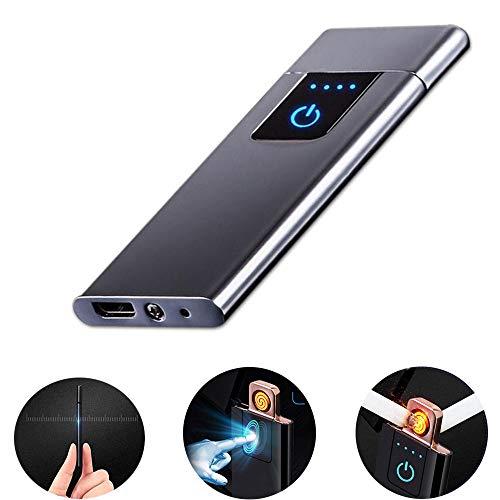 """LayOPO USB Wiederaufladbarer Fingerprint Feuerzeug, 0,15\""""Ultradünn Tragbares Elektrisches Winddichtes Feuerzeug, Flammenloses Plasma-Feuerzeug für Zigarre, Zigarette, Kerze"""