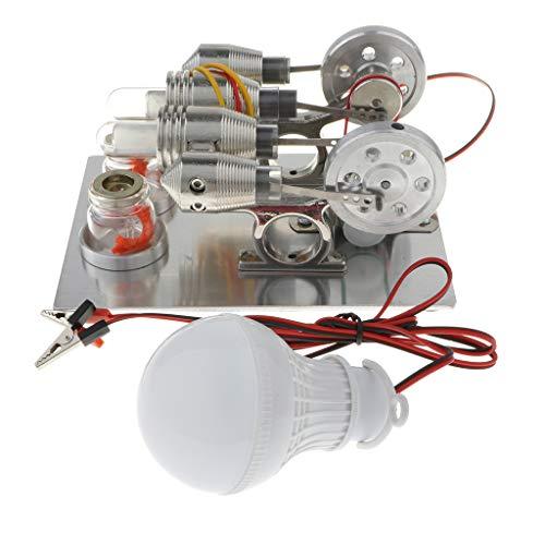 KESOTO Profi Stirlingmotor Heißluftmotor Stirling Maschine mit Glühbirne , Geschenk für Menschen