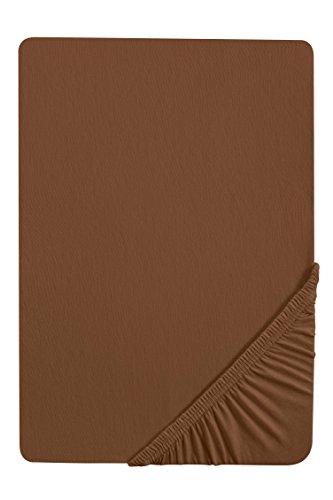 Castell 77113 Jersey-Stretch Spannbetttuch, nach Öko-Tex Standard 100, ca. 140 x 200 cm bis 160 x 200 cm, chocolate (Schwarze Wolle-jersey)