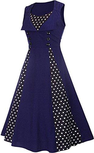 Jeansian Femme Mode Sans Manches Vintage Robe Women's Fashion Dress Stitching Retro Evening Cocktail Gown Dresses WHS418 Royalblue