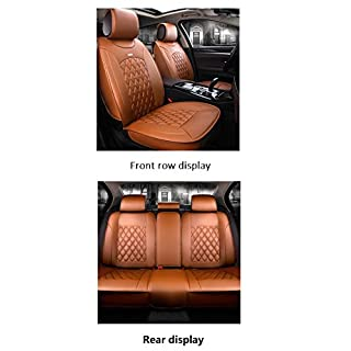 AOUTOS Luxus PU Leder Auto Auto Sitzbezüge 5 Sitze Vollen Satz Universal Fit (Orange)