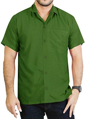 La Leela Short Sleeve Casual Formal Hawaiian Regular Fit Beach Shirt Aloha Tropical Holiday Front Pocket Plain Rayon Button Down Dress Work Shirts for Men