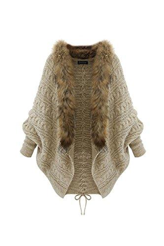 YACUN Damen Faux Fell Cardigans Pullover Gelegenheitsarbeit Outwear Mantel Khaki One Size
