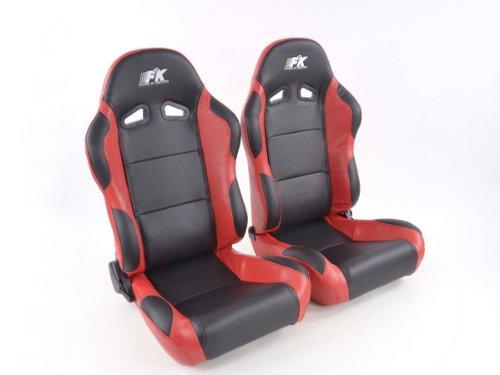 FK-Automotive Sportsitz Set Spacelook Carbon 1xlinks+1xrechts schwarz rot