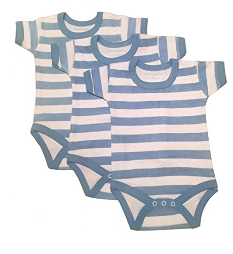 Rompers 6 Pack Blue Stripe Design Body Vests. Short Sleeve and Made From 100% Cotton