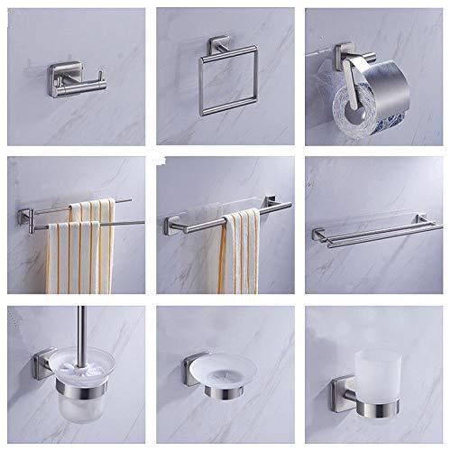 Badset Edelstahl gebürstet quadratisch Hotelbadezimmer Badset Einzelstange Handtuchhalter Kleiderhaken Einzelstange (Wie Viel Ist Ein Schuss Glas)