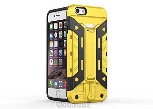 iPhone 6S / iPhone 6 Coque, Cocomii Cyborg Armor NEW [Heavy Duty] Premium Built-in Multi Card Holder Kickstand Shockproof Hard Bumper Shell [Military Defender] Full Body Dual Layer Rugged Cover Case É Yellow