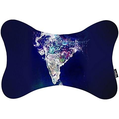 i FaMuRay Satellite Image of India Pattern Cuello Almohada de Viaje
