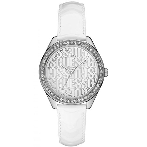 GUESS Women's Quartz Watch with White Dial Analogue Display and White Leather Bracelet W0560L1