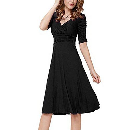 Damen Fasching Kostüm,Malloom Frauen Sexy V Ausschnitt Halbarm Solide Mini Kleid Ballkleid Hochzeit Kleid Schmetterling Drucken Swing Rundhals Kleid