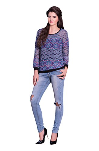 Urban India Blue Georgette Shirt style Kurti  available at amazon for Rs.999